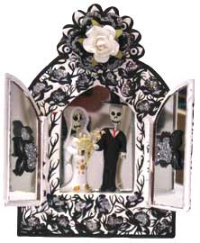 Black and White Wedding Couple in a Niche with Doors
