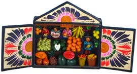 Fruit & Veggie Seller Matchbox Retablo