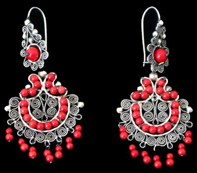 Tribal ethnic and old silver jewelry mexican coral chandelier earrings mozeypictures Images