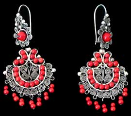 Mexican Coral Chandelier Earrings