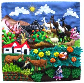 Mountain Village Harvest Scene Arpillera