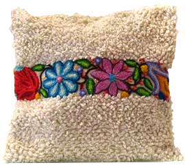 White Loopy Pillow with Poppies & Tulips